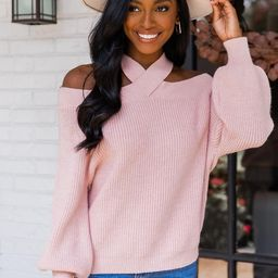 Come To Realization Pink Cold Shoulder Sweater | The Pink Lily Boutique