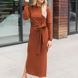 How've You Been Rust Ribbed Midi Dress | The Pink Lily Boutique