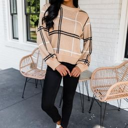 Classic Beauty Brown Plaid Sweater | The Pink Lily Boutique