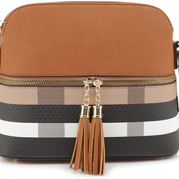SG SUGU Lightweight Medium Dome Crossbody Bag Shoulder Bag with Tassel   Plaid Pattern   Amazon (US)