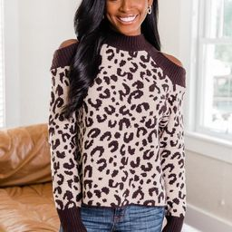 Mesmerized Beauty Brown Leopard Cold Shoulder Sweater | The Pink Lily Boutique