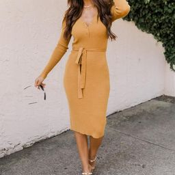 Only In Fairytales Mustard Belted Henley Midi Dress | The Pink Lily Boutique
