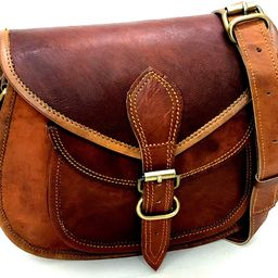 Women Leather Crossbody Shoulder Bag Satchel ladies Purse Genuine Multi Pocket Saddle Vintage Handma   Amazon (US)