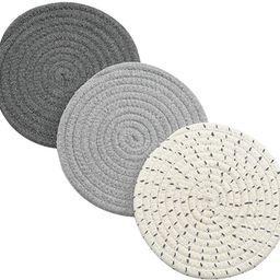 Potholders Set Trivets Set 100% Pure Cotton Thread Weave Hot Pot Holders Set (Set of 3) Stylish C... | Amazon (US)