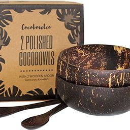 Coconut Bowls And Wooden Spoon Sets: 2 Vegan Organic Salad Smoothie or Buddha Bowl Kitchen Utensi... | Amazon (US)