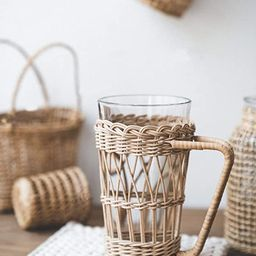 RISEON Vintage Rustic Hand-Woven Bamboo Rattan Cup Holder Coasters Drink Holder Stand Clear Glass... | Amazon (US)
