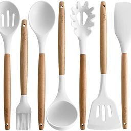 Silicone Cooking Utensils | Wooden Handle, Non-Stick Cookware Heat Resistant Kitchen Utensil Spat... | Amazon (US)
