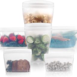 Reusable food container silicone bag, Full Set 6, 2 Cups, 2 Dishes, 2 Bags Zip Containers Storage... | Amazon (US)