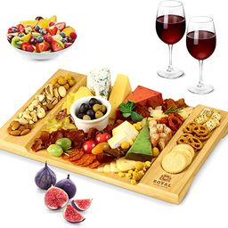 Unique Bamboo Cheese Board, Charcuterie Platter and Serving Tray for Wine, Crackers, Brie and Mea... | Amazon (US)