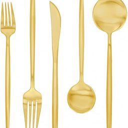 Matte Gold Silverware Set 30 Pieces, FAMEWAREStainless Steel Flatware Set,Service for 6,Kit... | Amazon (US)