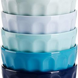 Sweese 126.003 Porcelain Fluted Bowls - 18 Ounce for Cereal, Soup and Fruit - Set of 6, Cool Asso... | Amazon (US)