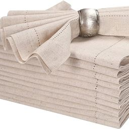 """Linen Flax Cotton Cloth Dinner Napkin 18x18"""" Natural With Hemstitched,Wedding Napkins, Cocktails ... 