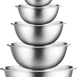 Stainless Steel Mixing Bowls (Set of 6) Stainless Steel Mixing Bowl Set - Easy To Clean, Nesting ... | Amazon (US)