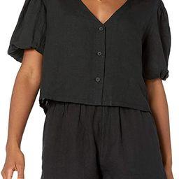The Drop Women's Priya Puff-Sleeve Cropped Linen Shirt | Amazon (US)