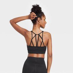Women's Light Support Multistrap Longline Bra - All in Motion™ Black S | Target