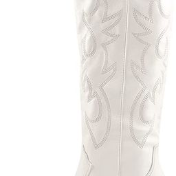 Richealnana Women's Cowgirl Round Roe Short Boots Embroidered Boots Chunky Heels | Amazon (US)