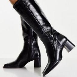 ASOS DESIGN Chamomile premium leather square toe knee boots in black | ASOS | ASOS (Global)
