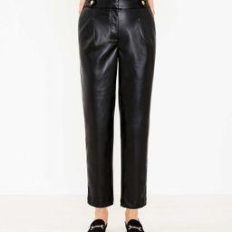 Curvy Button Tab Slim Pants in Faux Leather   LOFT