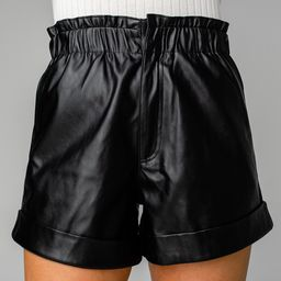 Peyton Paperbag Vegan Leather Shorts - Black | BuddyLove