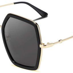FEISEDY Women Large Hexagon Inspired Sunglasses Fashion Irregular Design Style Geometric B2503   Amazon (US)