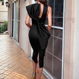 Missord Big Bow Split Hem Solid Dress   SHEIN