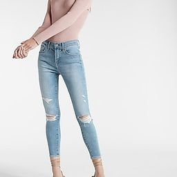 Mid Rise Supersoft Medium Wash Cropped Skinny Jeans | Express