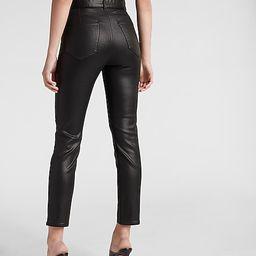 Super High Waisted Belted Black Coated Slim Jeans | Express