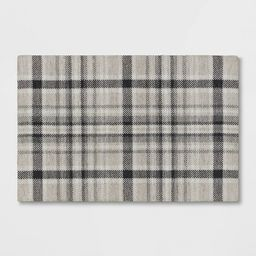 2'x3' Indoor/Outdoor Plaid Tapestry Layering Rug Gray - Threshold™   Target