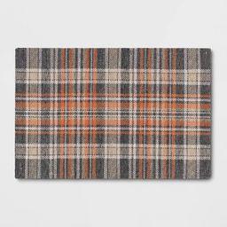 2'x3' Indoor/Outdoor Plaid Tapestry Layering Rug Orange - Threshold™   Target