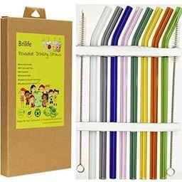 Reusable Glass Straws Set, Multiple Colored Borosilicate Glass Healthy Eco Friendly Drinking Stra... | Amazon (US)