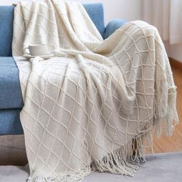 Textured Knitted Soft Throw Blanket With Tassels Warm Fluffy Cozy Plush For Fall Couch Bed Sofa L... | Walmart (US)