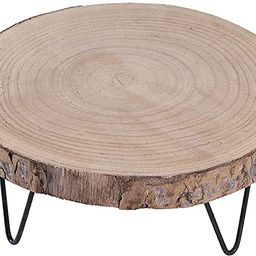 """Creative Co-Op Paulownia Pedestal with Hairpin Metal Legs, 9"""", Natural Wood Color 