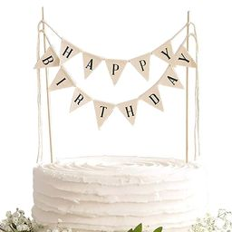 TECCA Happy Birthday Cake Topper Banner with White Burlap Bunting Flags. Handmade Food-Grade Safe... | Amazon (US)