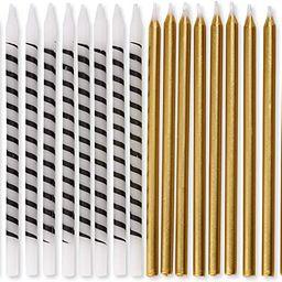 Papyrus Birthday Candles, White & Black Stripe & Gold (24-Count) | Amazon (US)