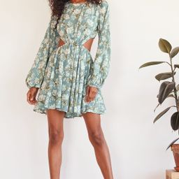 First Blooms Dusty Blue Floral Print Long Sleeve Cutout Dress   Lulus (US)