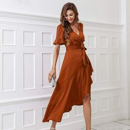 Solid Flounce Sleeve Belted Wrap Dress   SHEIN