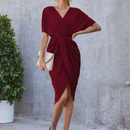 Surplice Neck Batwing Sleeve Wrap Dress   SHEIN