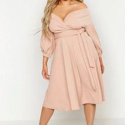Plus Off Shoulder Wrap Midi Dress   Boohoo.com (US & CA)