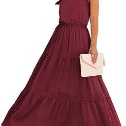 PRETTYGARDEN Women's Casual Halter Neck Sleeveless Floral Long Maxi Dress Backless Loose Ruffle...   Amazon (US)