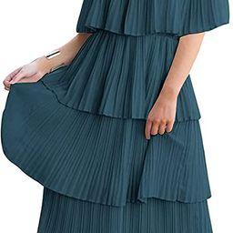 ETCYY Women's Off The Shoulder Ruffles Summer Loose Casual Chiffon Long Party Beach Maxi Dress ...   Amazon (US)