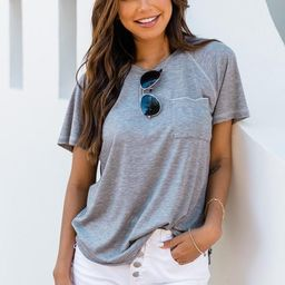 Lively Spirit Grey Scoopneck Pocket Tee   The Pink Lily Boutique