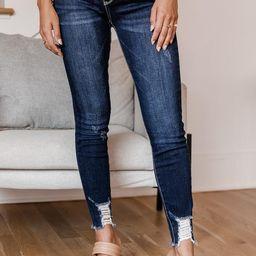 Jolie Distressed Hem Dark Wash Jeans   The Pink Lily Boutique