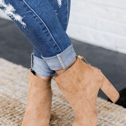 Tamera Brown Suede Pointed Toe Booties | The Pink Lily Boutique