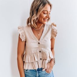 Lily Taupe Linen Top   She Is Boutique