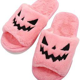 Halloween Jack O Lantern Pumpkin Slippers Soft Plush Cozy Open Toe Women Indoor or Outdoor Fuzzy ... | Amazon (US)
