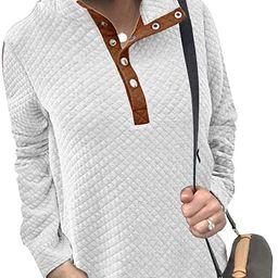 BTFBM Women Fashion Quilted Pattern Lightweight Zipper Long Sleeve Plain Casual Ladies Sweatshirt... | Amazon (US)