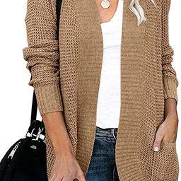 YIBOCK Womens Long Sleeve Open Front Waffle Chunky Knit Cardigan Sweater Outwear   Amazon (US)