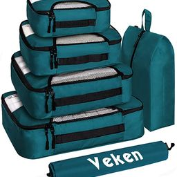Veken 6 Set Packing Cubes, Travel Luggage Organizers with Laundry Bag & Shoe Bag (Black Leaf)   Amazon (US)