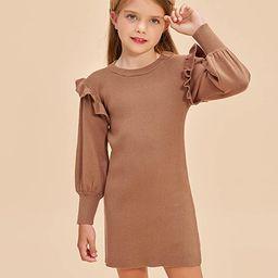 Girls Crew Neck Sweater Dress Lantern Sleeve Dress Knit Ruffled Dress Size 5-12 | Amazon (US)