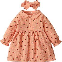 Maacie Little Baby Girl Long Sleeve Fall Dress Comfy Cotton Dress with Headband | Amazon (US)